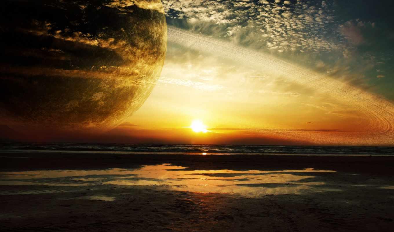 planet, browse, cosmos, звезды, космос, кольца, закат,