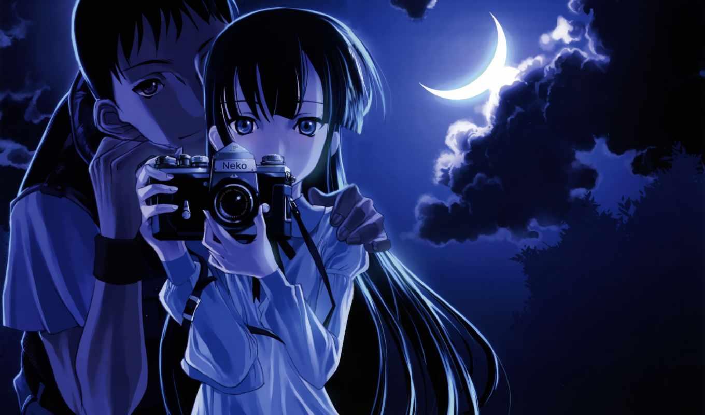 девушка, ночь, парень, небо, фотоаппарат, art, фото, руках, полумесяц, разных,
