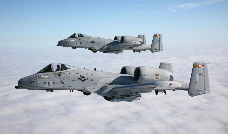 thunderbolt, штурмовики, самолёт, штурмовик, американский, истребитель, oblaka, небо, авиация,