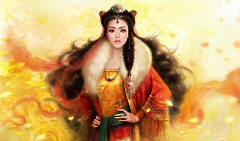 арт, девушка, украшения, волосы, азиатка, ruoxing, zhang, коса, fantasy, arts, martial, фэнтези,