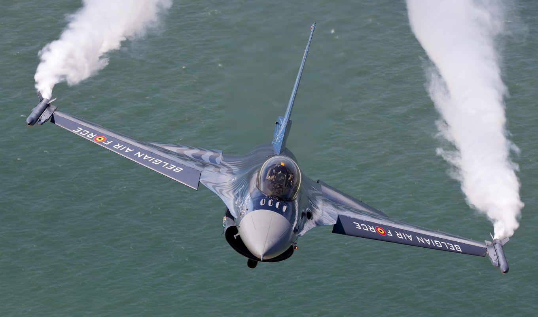 falcon, dynamics, fighting, air, полет, general, облака, belgian, истребитель, картинка, вода, force,