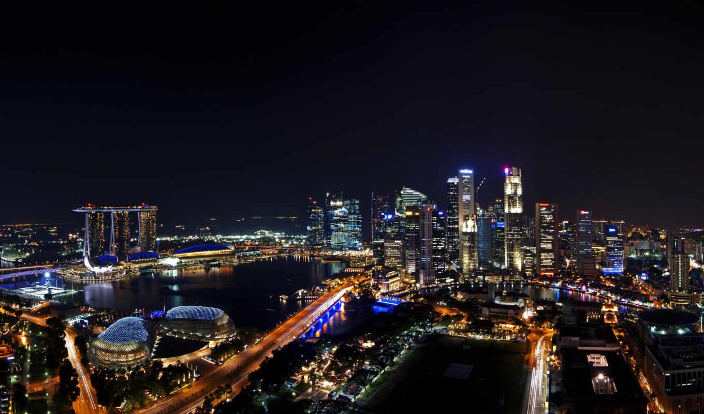 singapore, город, ночной, правой, мыши, кнопкой, картинку, изображение,