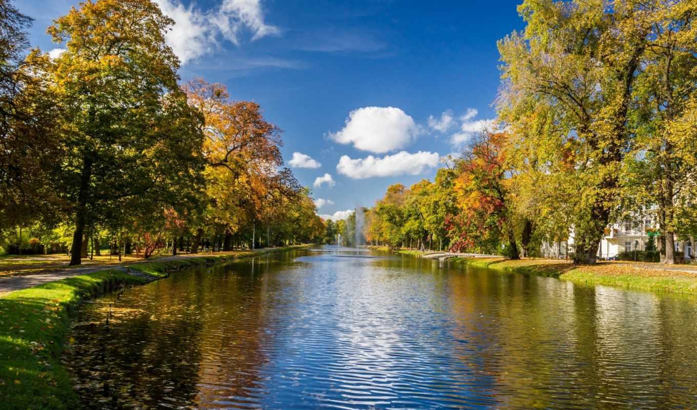 фонтаны, осень, аллея, река, деревья, картинка, картинку,