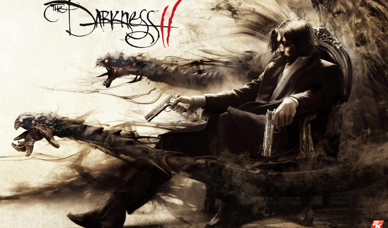 darkness, пистолеты, игры, тени, киллер, demon, arms, widescreen, монстры, desktop,