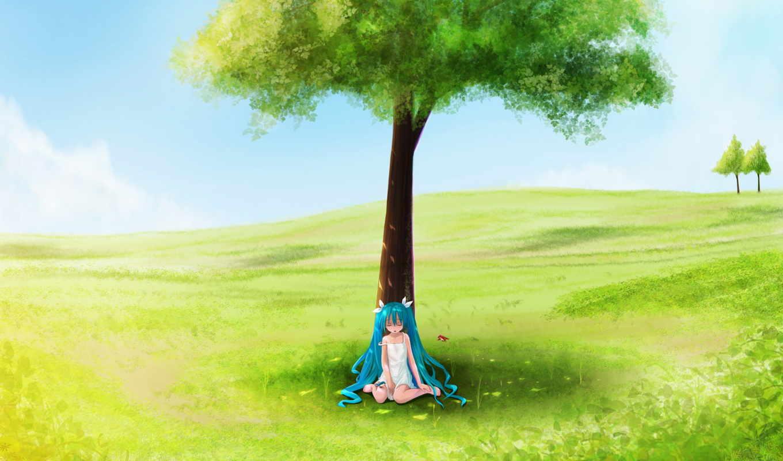 anime, поле, луг, plain,