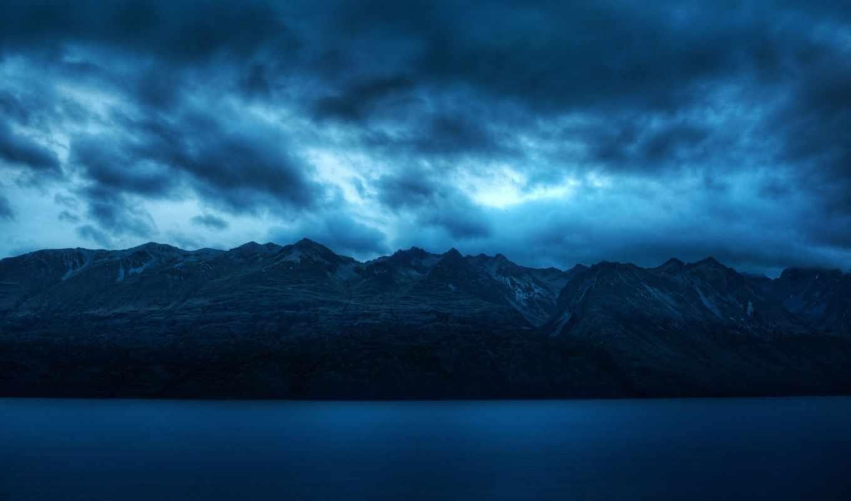 горы, сумерки, природа, oblaka, небо, water, синее, landscape, пейзажи -,