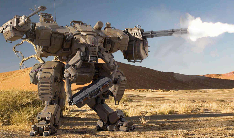 огонь, пулеметы, пустыня, робот, шагатель, стрельба, картинка,