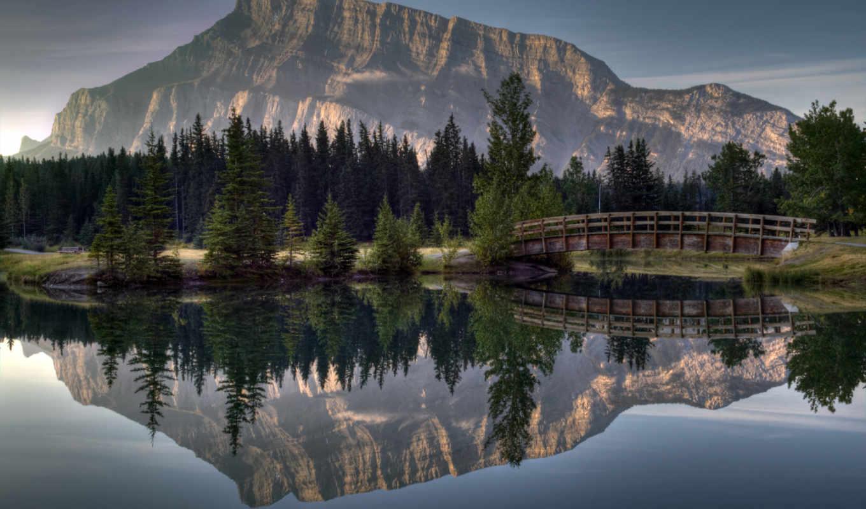 отражение, гора, река, лес, мост,