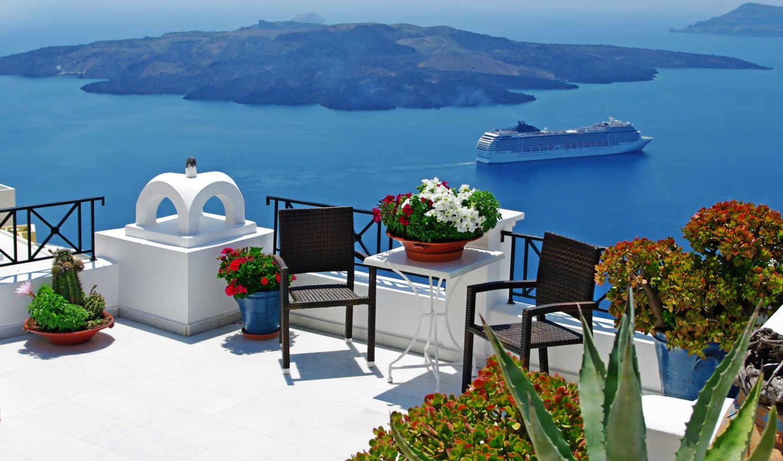 природа, лодки, пейзаж, небо, облака, santorini, лето, greece,