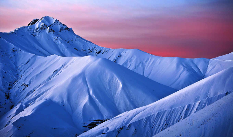 горы, снежные, утро, раннее, гор, голубые, склоны,