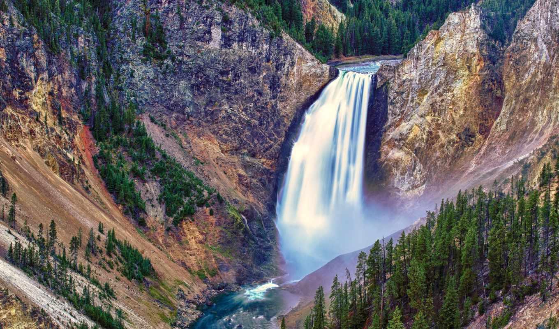 красивые, водопады, водопад, falls, lower, park, красивых, national,