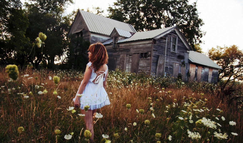 разных, девушка, цветов, fone, дома, платье, деревянного, разрешениях,