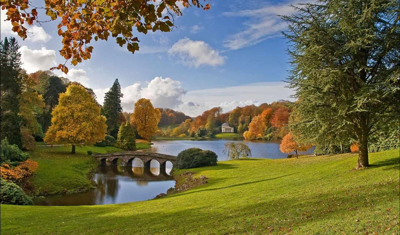пейзажи -, англия, озеро, осень, мост, landscape, wiltshire, уилтшир, деревя, garden,