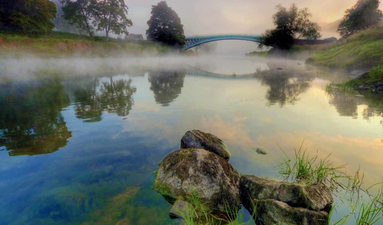 туман, утро, reka, priroda, камни, горы, les, дымка, деревя, самый,
