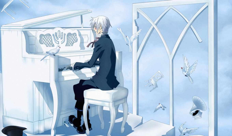 allen大师高手, уокер, серый, мужчина, piano, anime, песнь, изображение,