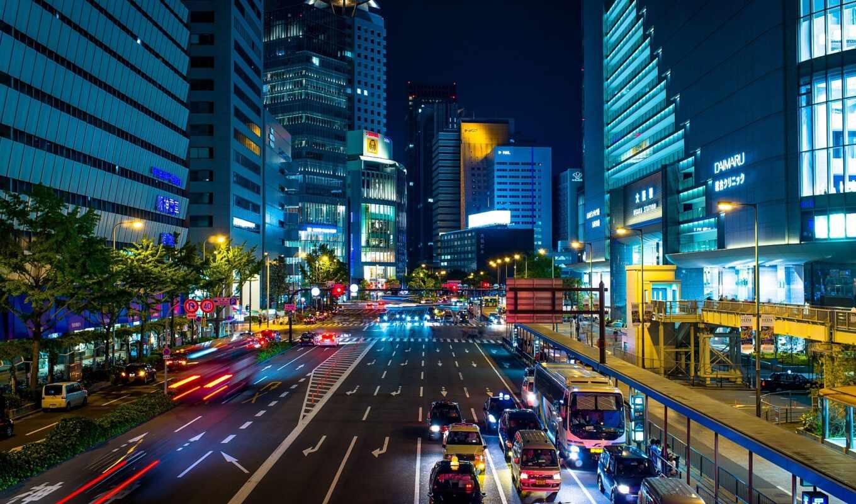 город, осака, движение, ночь, urban, улица, metropolis, castle, japanese, вечер, lightning