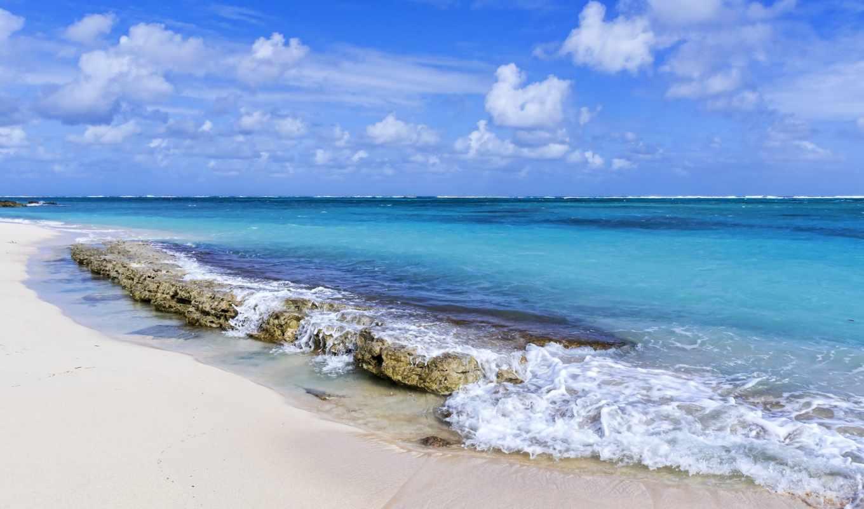 волны, море, island, океан, небо, камни, облака,