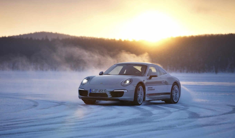 porsche, white, взгляд, drift, turbo, снег, winter,