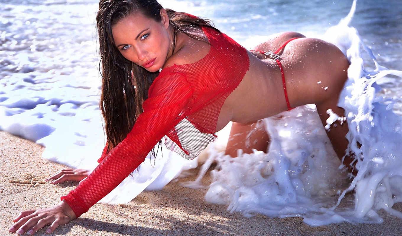 взгляд, картинка, devushki, красном, море, stringi, мокрая, пенка, поза, ass, песок,