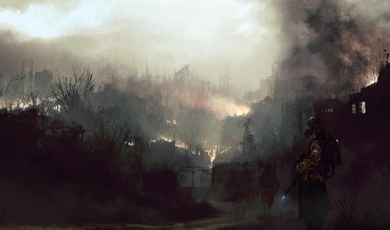 город, огонь, рисунок, сюжетность, солдаты, digital, картинка, fantasy, война, art, города, фэнтези,