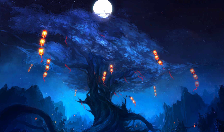 ночь, огни, дерево, арт, фонарики, zyxlx, луна, скалы, landscape, картинка,