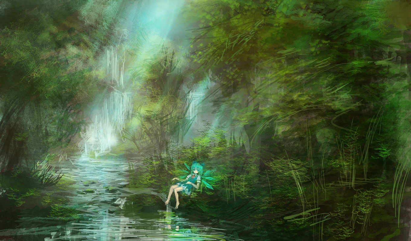 touhou, аниме, cirno, forest, девушка, water, wings, stream, sitting, eyes, lying, barefoot, scenic, green, dress, similar, short, hair, highres, крылья, waterfall,