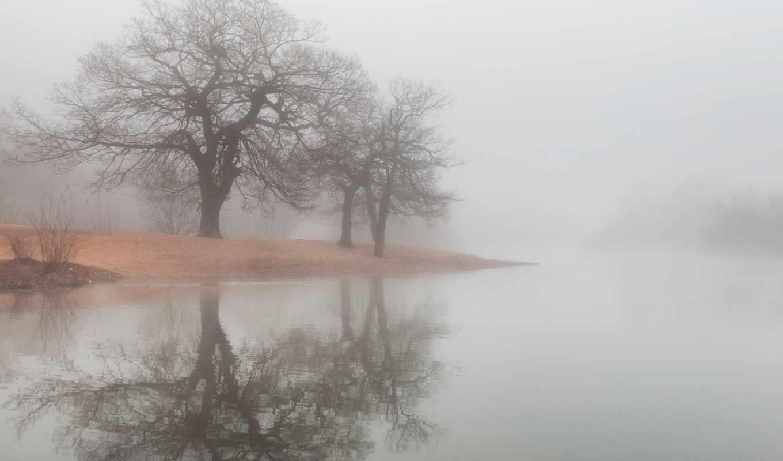 туман, озеро, вода,