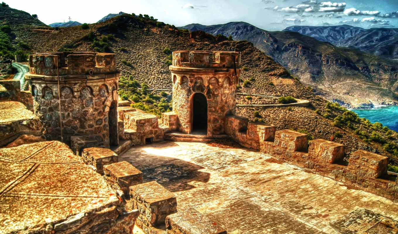 испания, города, cartagena, замок,