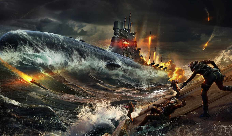 лодка, подводная, широкоформатные, war, шутер,
