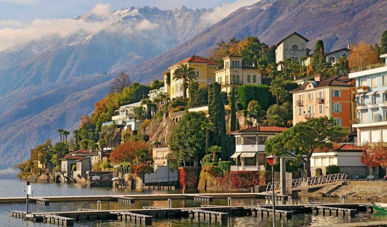 аскона, швейцария, горы, ascona, здания, деревя, город,