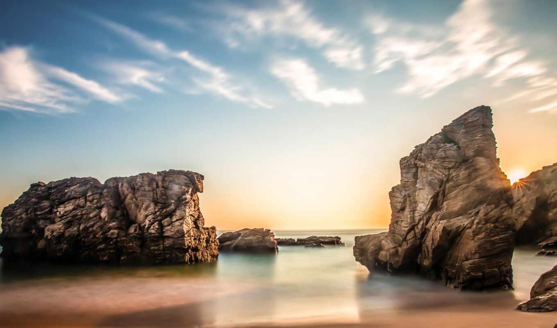 восход, море, солнце, скалы, берег, облака, утро, небо,
