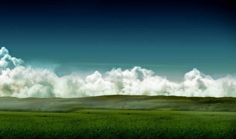 облака, небо, трава, поле, высоком,
