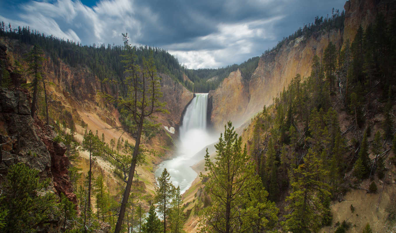 falls, lower, national, yellowstone, park, wyoming, горы, водопад,