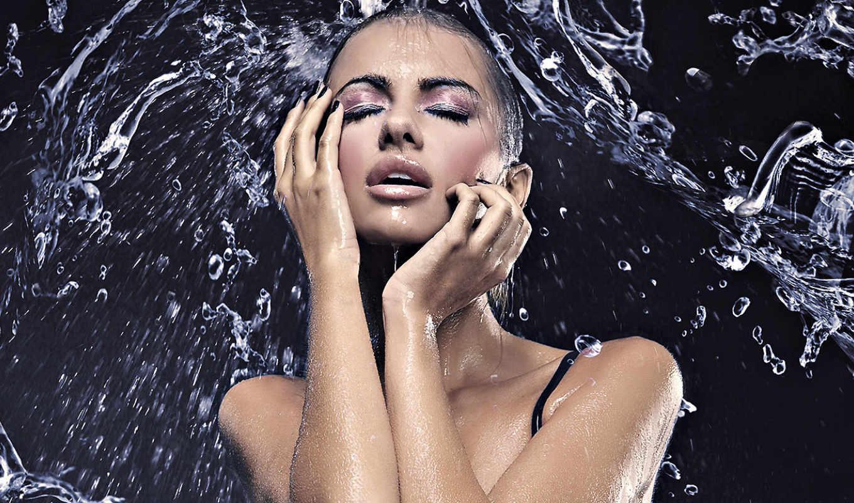 water, всплеск, брызги, капли, девушка, лицо,