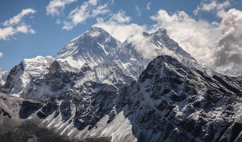 горы, снег, oblaka, природа, everest,