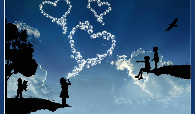 love, небо, blue, more, черви, clouds, изображение, black, категория,
