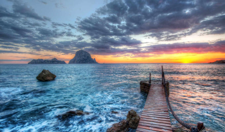 море, закат, природа, pier, one, небо, побережье, click, горизонт,