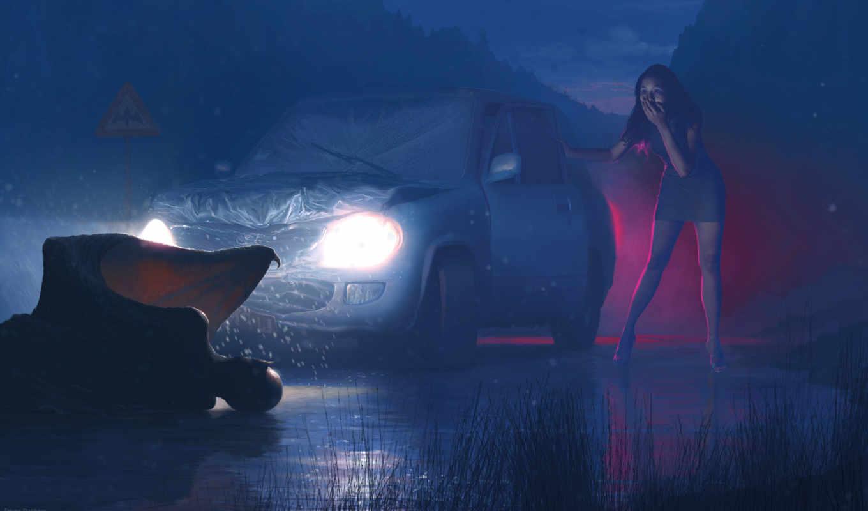 фантастика, рисунок, вампиры, cosmos, море, машина, fantasy, кровь, картинка, зубы, принцесса,