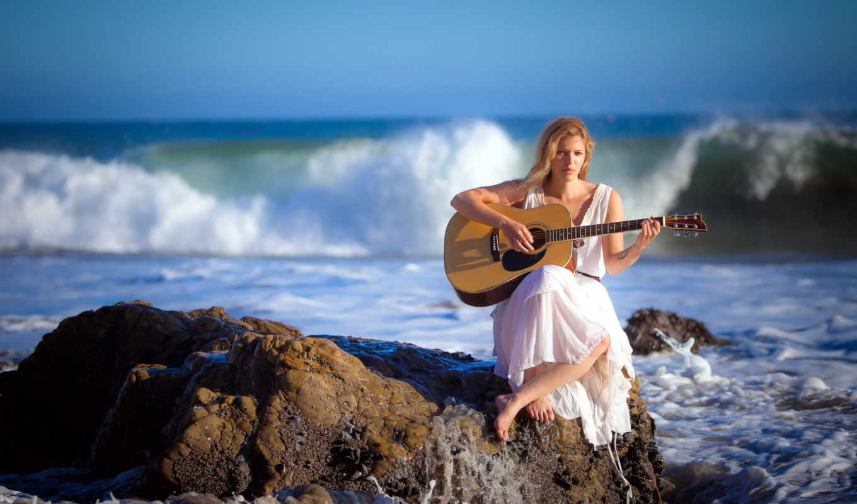 музыка, гитара, девушка, море, women, женщины, обою,