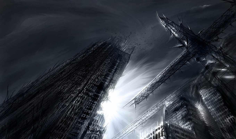 fantasy, стиле, картинка, devushki, art, июнь, часть, небоскрёб,