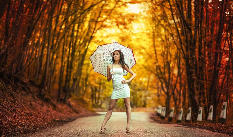 девушка, осень, платье, зонтик, дорога, боке, зонтом, белым,