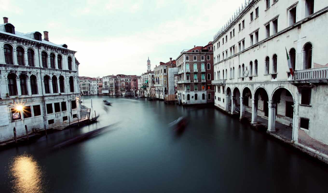 canal, venice, grand, building, italy, timelapse