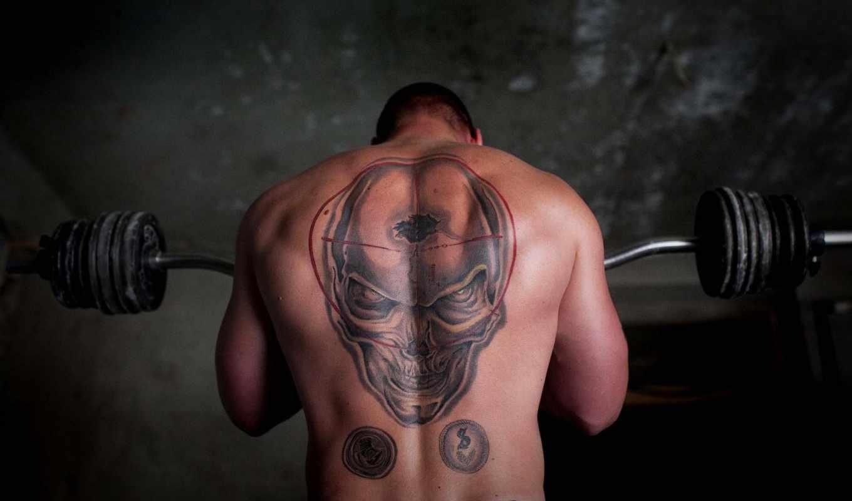 череп, штанга, спина, тату, атлет, мужчина, качок, картинка, татуировка,