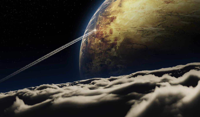 космос, планета, облака, полет, арт, след, картинка, корабль,