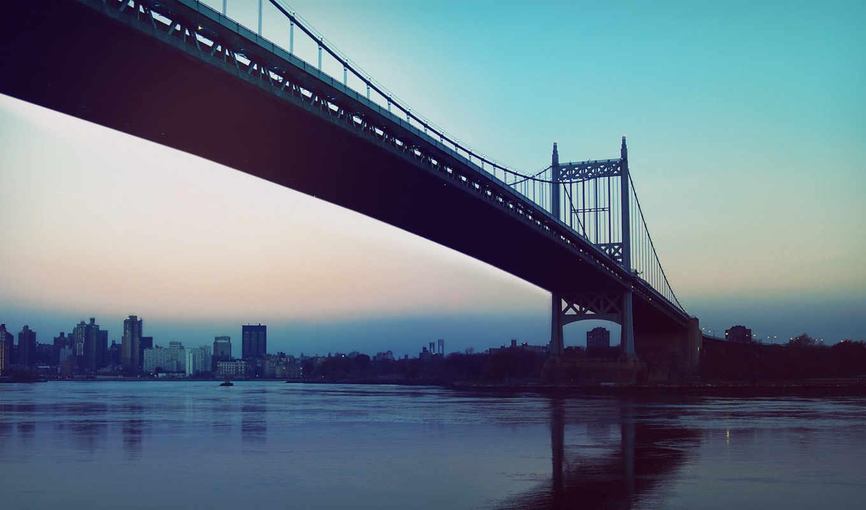 мост, город, картинка, утро,