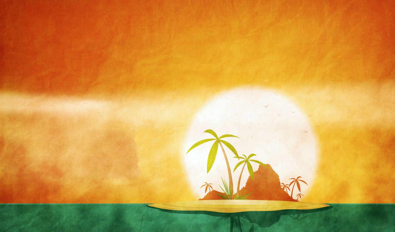 лето, солнце, остров, пальма, календарь, июнь,