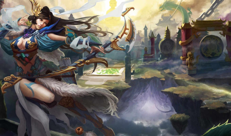 Fantasy, Asian, Girl, лук, выстрел, дракон, бой