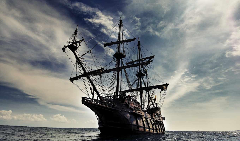 корабль, волны, море, парусник, небо, галеон, корабли,