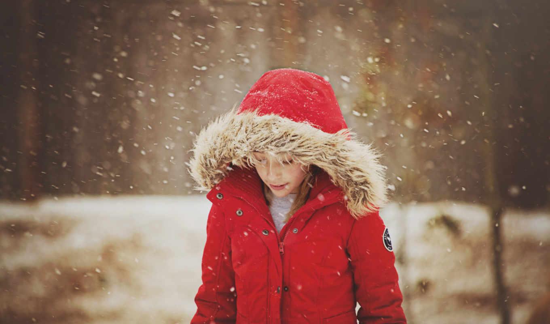 снег, winter, девушка, ребенок, природа, desktop, snowflakes, настроение,