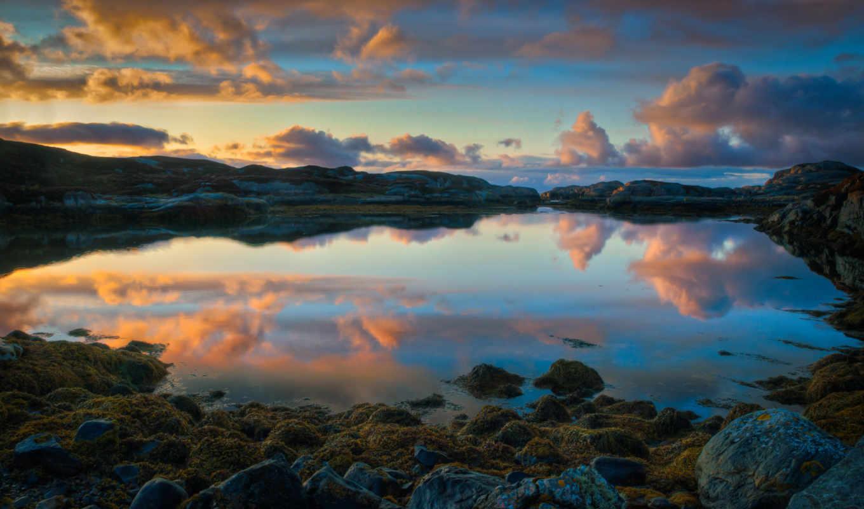 норвегии, норвегия, отражение, закат, pack, красивая,